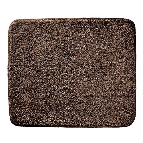 mDesign Soft Microfiber Polyester Non-Slip Small Rectangular Spa Mat, Plush Water Absorbent Accent Rug for Bathroom Vanity, Bathtub/Shower, Machine Washable - 21'' x 17'' - Heathered Chocolate Brown by mDesign