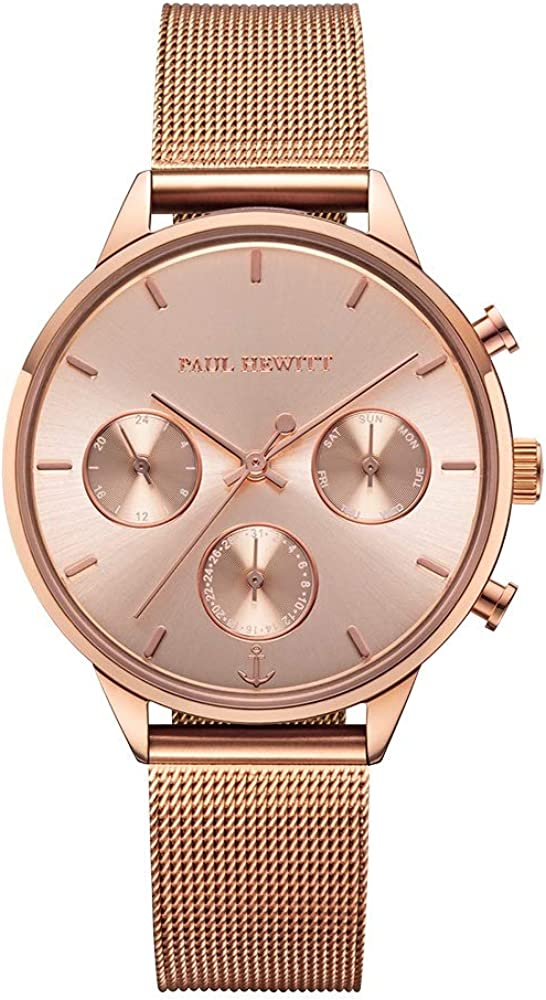 PAUL HEWITT Reloj de Pulsera para Mujer en Acero Inoxidable Everpulse Rose Sunray - Reloj con Correa de Acero Inoxidable en Oro Rosa, Reloj de muñeca para Mujer con Esfera en Oro Rosa