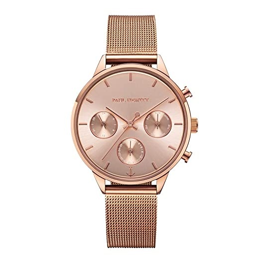Paul Hewitt Everpulse Line Rose Sunray - Reloj de Pulsera para Mujer con Correa de Malla en Oro Rosa: Amazon.es: Relojes