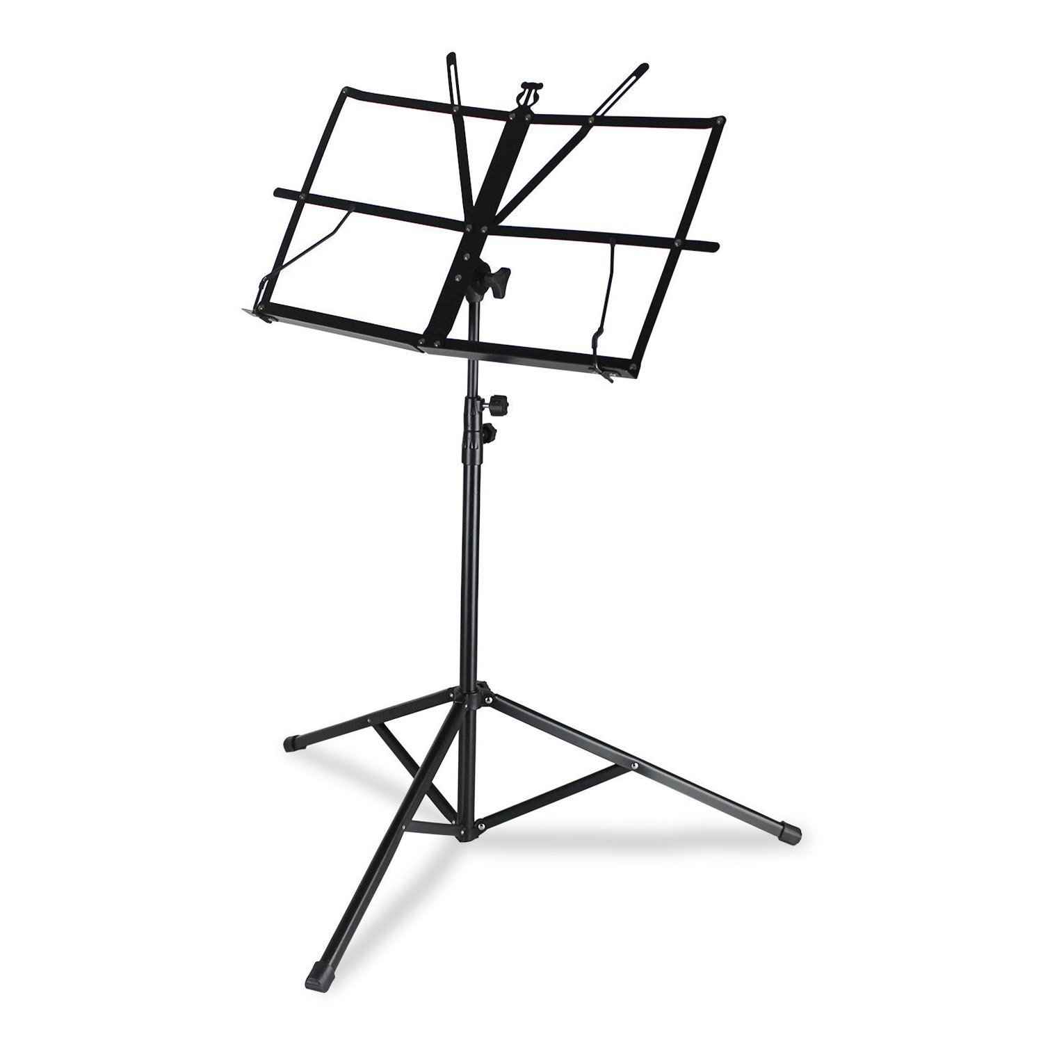 Encore Basics Music Stand, Foldable w/ Sheet Holders - Lightweight Metal Design for Guitar, Violin, Brass Players & More
