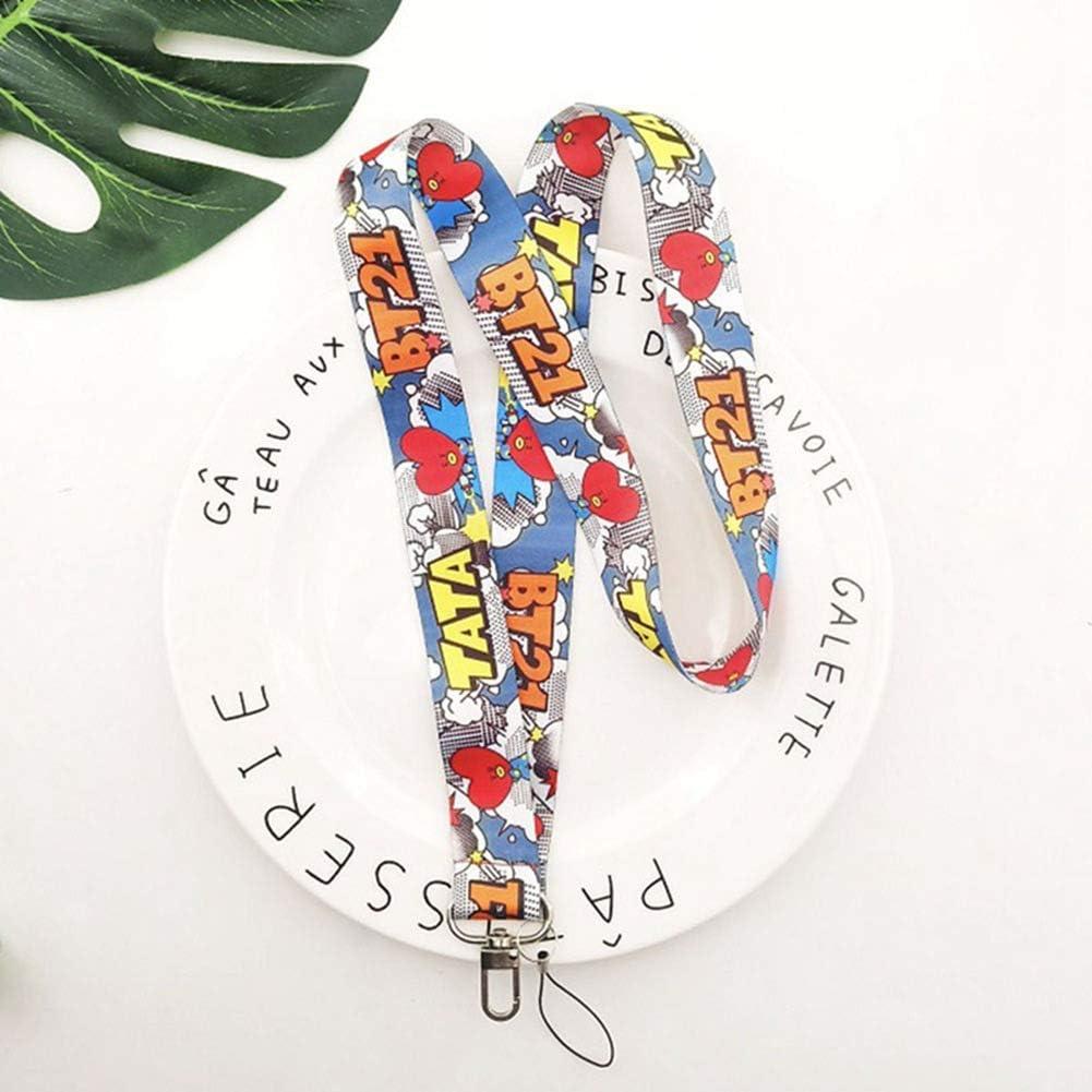 ALTcompluser Kpop BTS - Llavero con cinta para colgar en el cuello, mosquetón para llaves, soporte para tarjetas, reproductor MP3, memorias USB, color TATA A: Amazon.es: Oficina y papelería