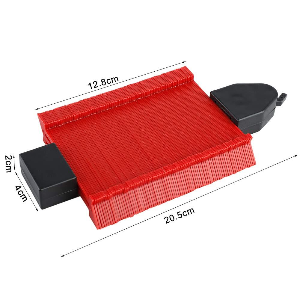 medidor de contorno herramienta de medici/ón de forma para carpinter/ía precisa y formas irregulares 5in duplicador de perfil Medidor de contorno con bloqueo Rojo. FGASAD