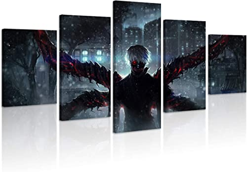 Jackethings Japanese Tokyo Ghoul Anime Poster Kaneki Ken Prints on Canvas Wooden Framed Wall Art Decoration Cool