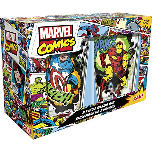 Zak! Designs Pint Glass Tumblers, Marvel Comics Universe, Set of 2, 16 oz. capacity ()