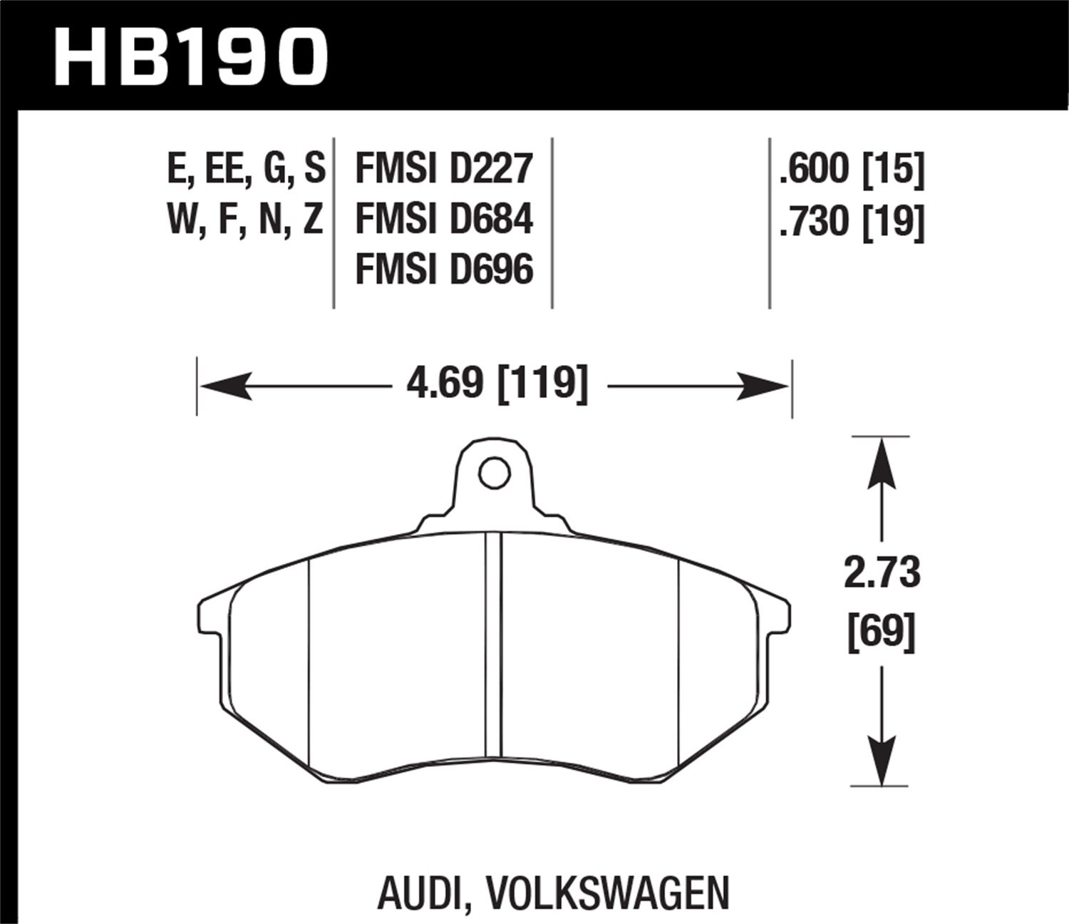 Hawk Performance HB190W.600 Disc Brake Pad