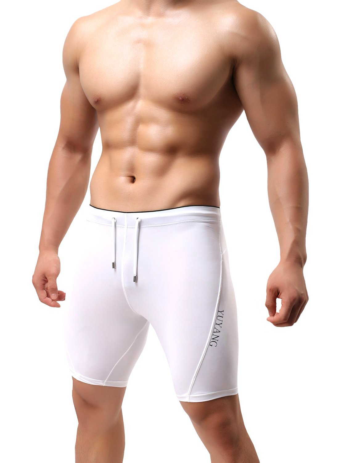 MIZOK Men's Cool Dry Compression Base Layer Capri Tights Shorts with Drawstring L,White by MIZOK