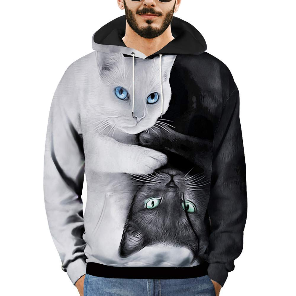 Makeupsto Unisex Lovers Hooded Sweatshirts Plus Size 3D Cat Printed Long Sleeve Fashion Pullover Tops Blouse