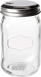 Circleware Yorkshire Mason Sugar Jar Glass Canister with Metal Lid Home Kitchen Glassware Food Preserving Storage Container for Coffee, Tea, Spices, Cereal and Farmhouse Decor, 18.25 oz, Clear