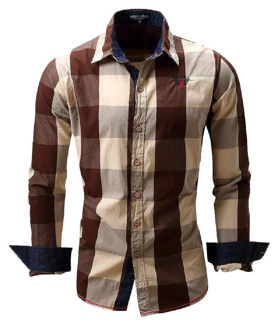 HTOOHTOOH Mens Checked Color Block Shirt Long Sleeve Plaid Shirt Top