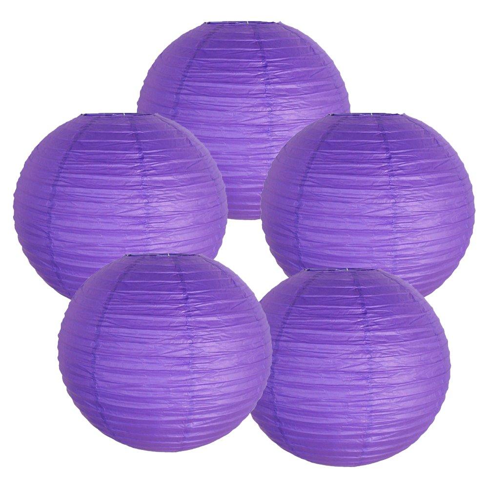 Just Artifacts ペーパーランタン5点セット - (6インチ - 24インチ) 14inch FBA_AMZ-RPL5-140045 B01CEXBSCO  パープル(Royal Purple) 14inch