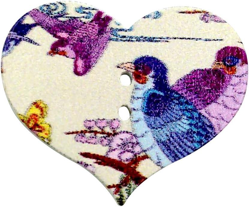 guohanfsh 50Pcs 25mm Wood Buttons Natural Wooden Buttons for Sewing Children Sweater Crafts Bulk Flower Heart Shape Button Random Pattern