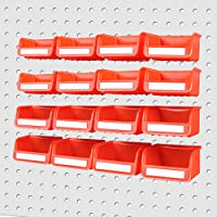 HOURSDY 16Pc Pegboard Bins Kit with Steel Hook, Pegboard Workbench Bins for Parts Storage, Tools Organize Hardware…