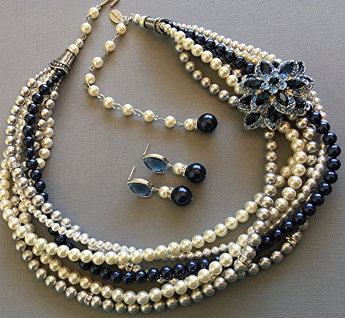 Navy Blue necklace with Brooch twisted torsade 6 multi strands Swarovski pearls in Blue,Grey,White,Cream Ivory chunky pearl Wedding Mother of the Bride jewelry by Alexi Blackwell Bridal -