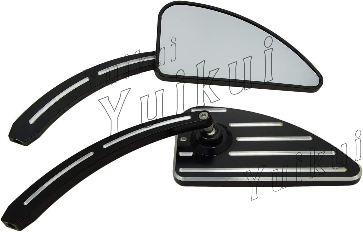Black Flame Rearview Custom Mirror For Harley Motorcycle Cruiser Chopper Bolts