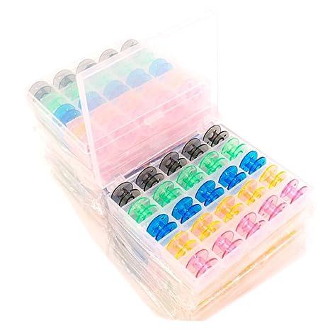 Hosaire Caja con 25 canillas vacías para máquina de coser plástico, varios colores