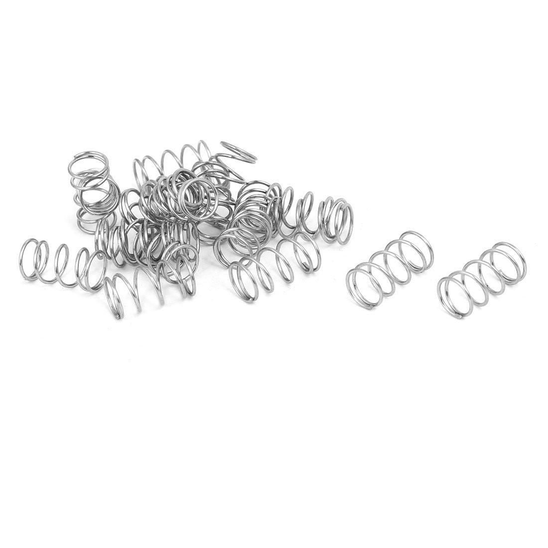 sourcingmap 20 Stü ck 0.7mmx8mmx15mm 304 Edelstahl Druckfedern Silber a17020800ux1409