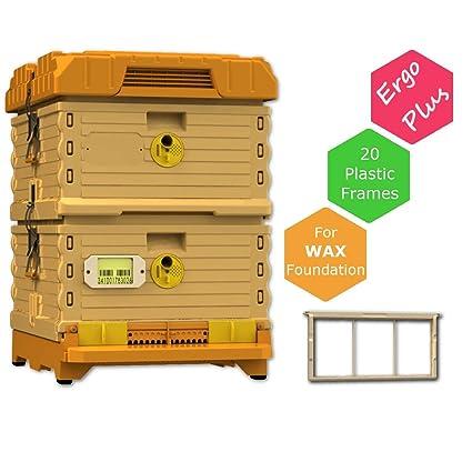 Apimaye 10 Frame Langstroth Insulated Bee Hive Set with Plastic Handy  Frames (Plus Orange)