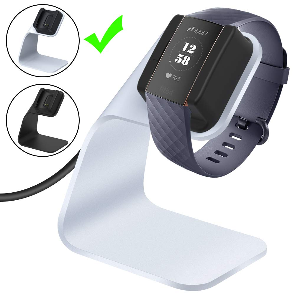CAVN Charger Dock Compatible with Fitbit Charge 3 / Charge 3 SE, Replacement Charging Cable Cord Stand Cradle Base with 4.2 ft USB Cable Accessories (Silver)