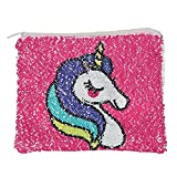 ZTL Magic Sequins Reversible Makeup Bag Clutch Wallet Purse Pouch Unicorn/Rainbow
