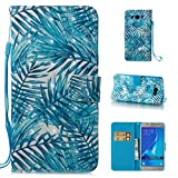 samsung galaxy on7 2016 Galaxy J7 2016 Case, J710 Case,Detachable 3D Painted Leather Stand Function Wallet Case Ultra Slim Folio Cover Flip Case[Kickstand Feature] Wristlet[Card Slots/Cash] Case for Samsung J710(2016)-Leaves