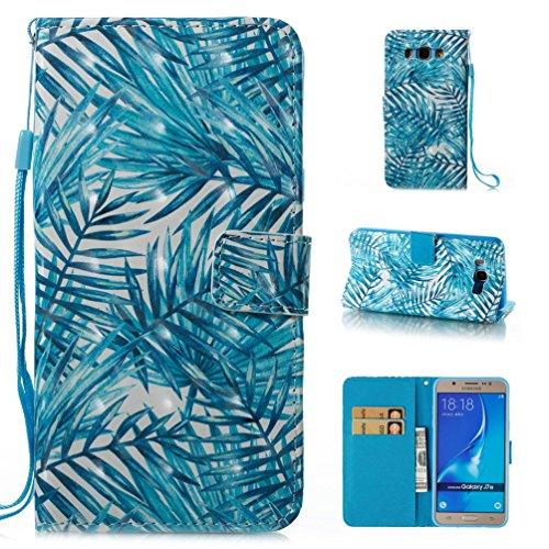 Galaxy J7 2016 Case, J710 Case,Detachable 3D Painted Leather Stand Function Wallet Case Ultra Slim Folio Cover Flip Case[Kickstand Feature] Wristlet[Card Slots/Cash] Case for Samsung J710(2016)-Leaves
