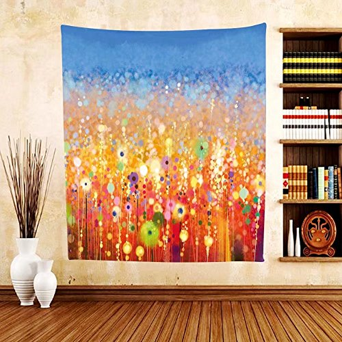 Gzhihine Custom tapestry Watercolor Flower Home Decor Tapestry Coneflower by the Lake Water Sea Fall Hand Drawn Horizontal Print for Bedroom Living Room Dorm (Big Sky Coneflower)