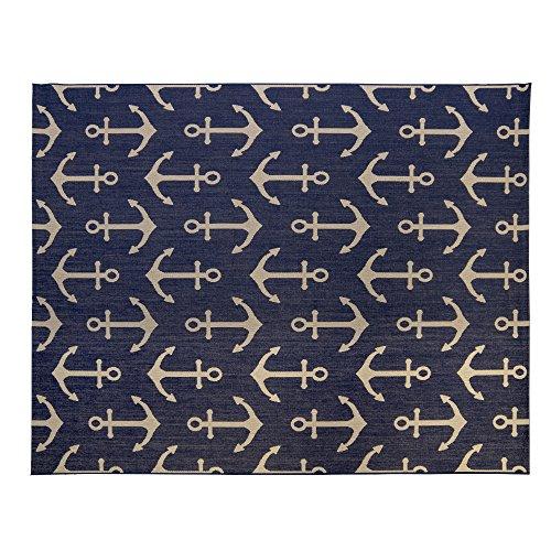 Gertmenian 21263 Nautical Tropical Outdoor Patio Rugs, 8x10 Large, Navy Anchor