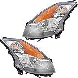 Driver and Passenger Halogen Headlights Headlamps with Black Bezels Replacement for Nissan Sedan 26060-JA00B 26010-JA00B