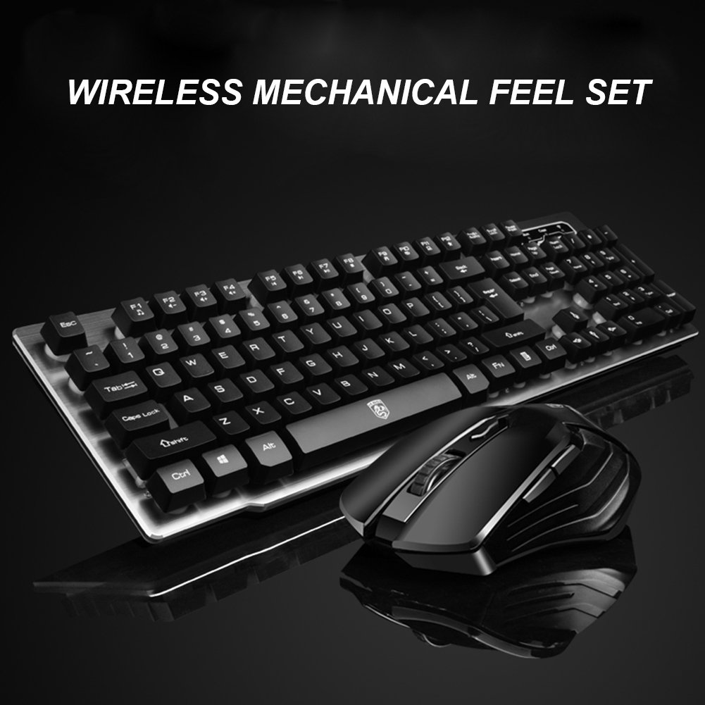 afef78359b9 Amazon.com: Wireless Mechanical Feel Keyboard and Mouse Set,2.4Ghz Cordless Gaming  Keyboard for Laptop Desktop PC Strong Compatible with Windows,ios ...