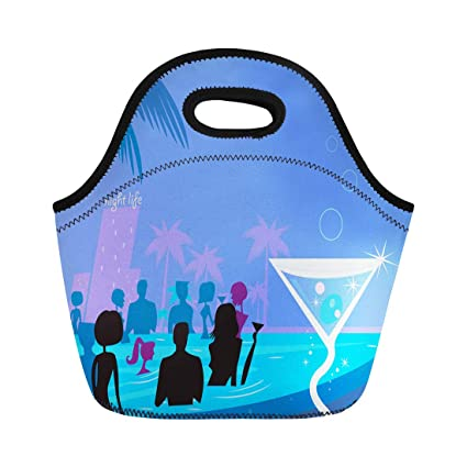 0071a87e15ba Amazon.com: Semtomn Lunch Tote Bag Water Party Night People in Pool ...
