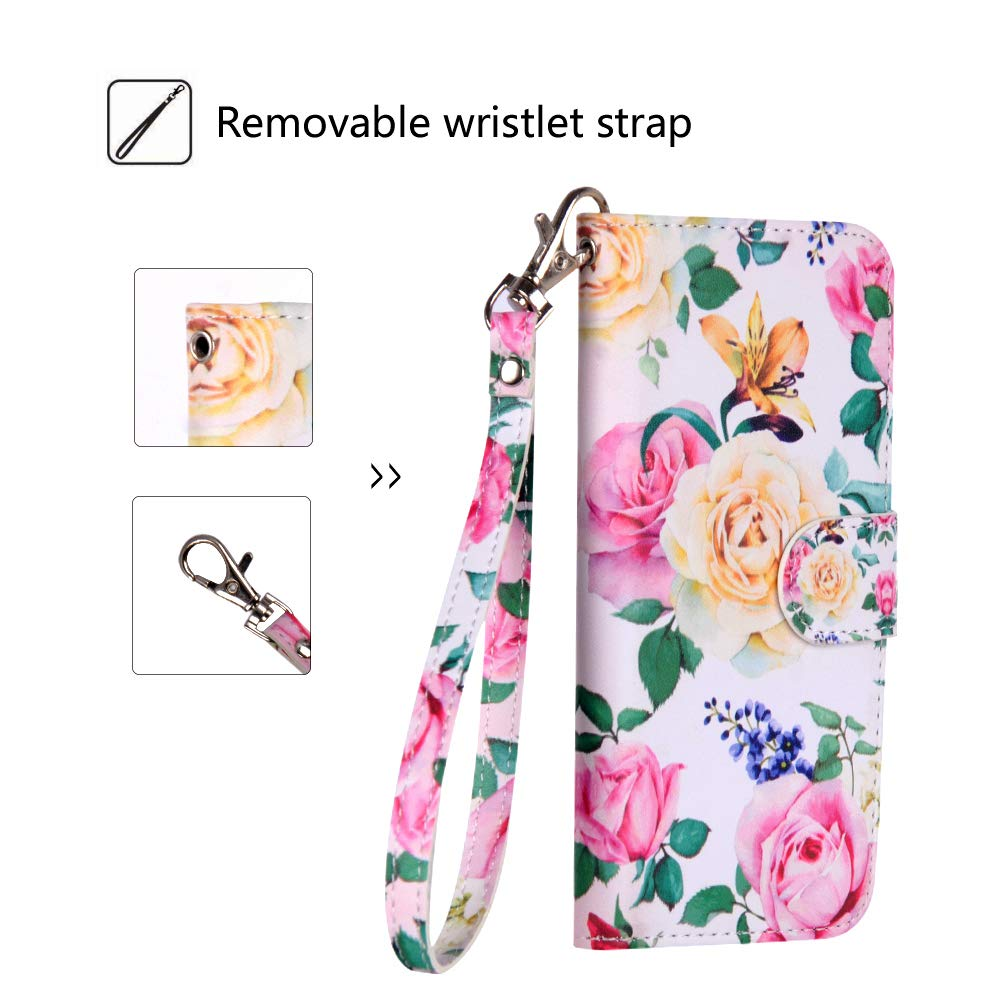 Urbeutyke iPhone XR Wallet Case, iPhone XR Case,Premium PU Leather Flip Folio Case Cover with Wrist Strap, card holder,Cash Pocket,Kickstand for Apple iPhone XR 6.1 inch - Flower