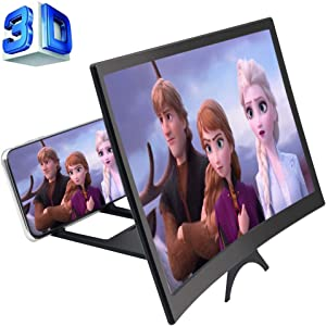 GLISTON 12'' 3D Phone Screen Enlarger, Curved Screen Magnifier for Cell Phone, HD Screen Amplifier, Folding Screen Magnifier for Movies, Videos, Gaming