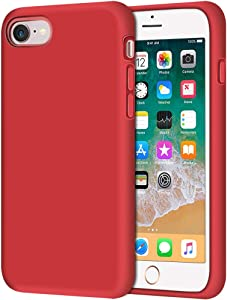 "Anuck iPhone SE 2020 Case, iPhone 8 Case, Non-Slip Liquid Silicone Gel Rubber Bumper Case Soft Microfiber Lining Hard Shell Shockproof Full-Body Protective Case Cover for iPhone 7/8/SE 4.7"" - Red"