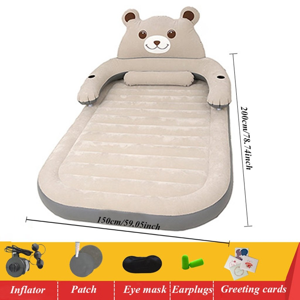 QIHANGCHEPIN Single Double Portable Folding Inflatable Bed Thick Flocking Simple Cartoon Outdoor Travel Air Mattress 200150cm Removable Back Air Bed (Color : Gray)