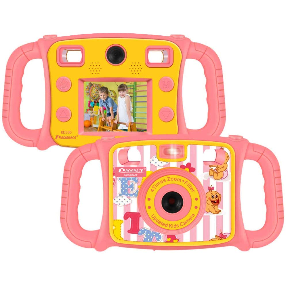 "Prograce Kids Camera Dual Selfie Camera 1080P HD Video Recorder Digital Action Camera Camcorder for Boys Girls Gifts 2.0"" LCD Screen with 4X Digital Zoom and Funny Game(Pink)"