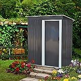 DOIT 5'x3'x6' Outdoor Metal Garden Storage Shed,Outdoor Tool House Heavy Duty Sliding Door