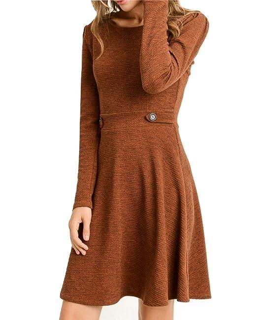 Gilli Rust Textured Long Sleeve Fit \u0026 Flare Dress at Amazon