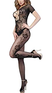 ef33641912 Leg Avenue Womens Seamless Swirl Lace Long Sleeve Bodystocking Black One  Size 8910822001