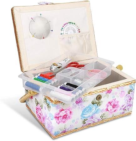 Navaris Costurero de Madera con 76 Accesorios - Caja de Costura Forrada en Tela de Rosas con 4 Compartimentos - Organizador con alfiletero Agujas Hilo: Amazon.es: Hogar