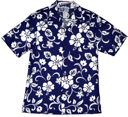[Classic Hibiscus Hawaiian Shirts - Mens Hawaiian Shirts - Aloha Shirt - Hawaiian Clothing - 100% Cotton Royal XL] (Hibiscus Blue Aloha Shirt)