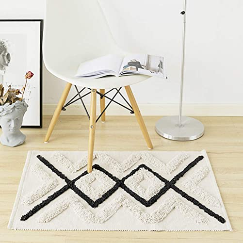 Bathroom Rug Woven Geometric Rug, Diamond Moroccan Carpet, Cotton Cute Tassels Tribal Rug for Bedroom Living Room 2 x3 , Beige with Black