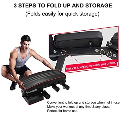 Adjustable Weight Bench Incline Decline Foldable Workout Full Body Gym US