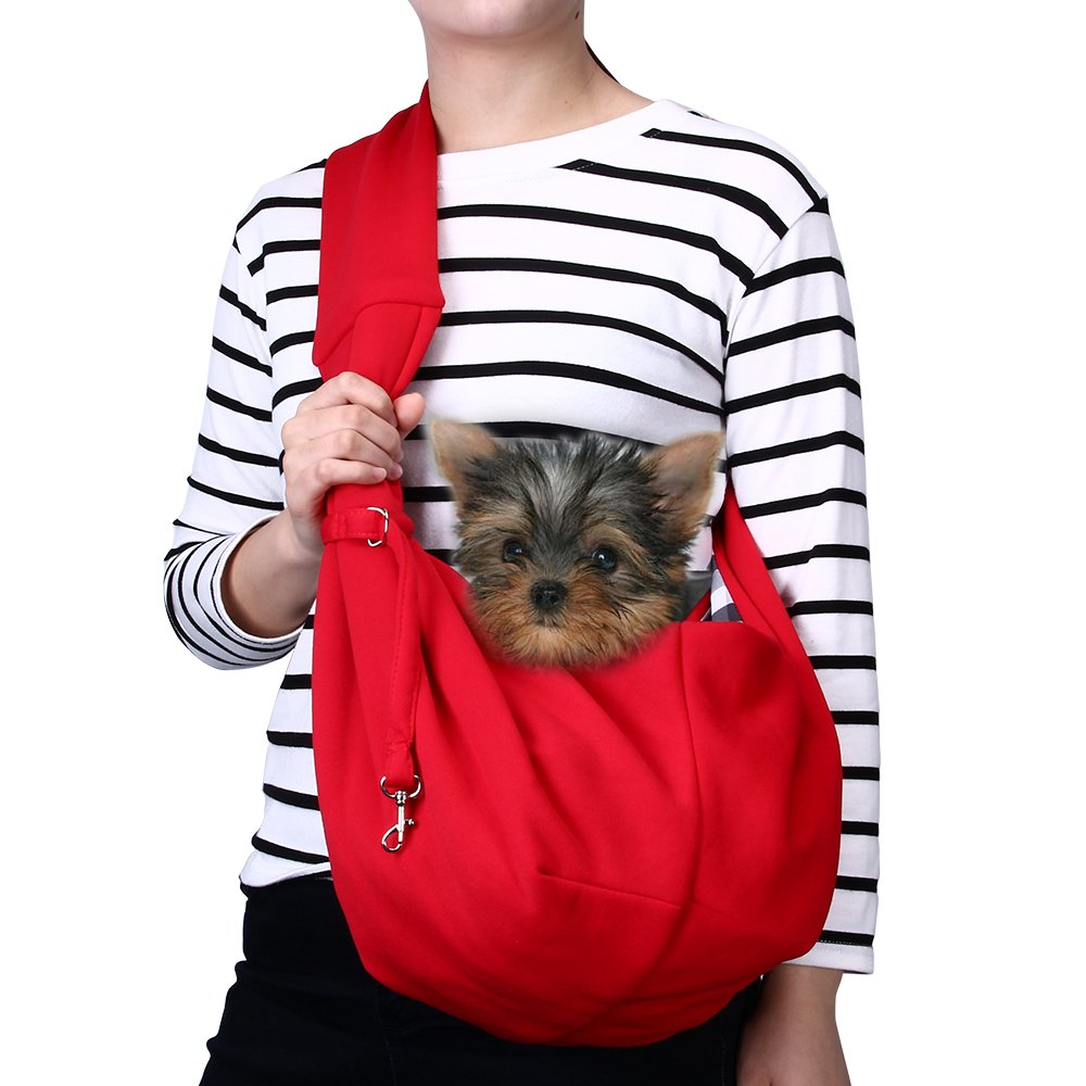 TOMKAS Small Dog Cat Carrier Sling Hands-Free Pet Puppy Outdoor Travel Bag Tote Reversible (Red)