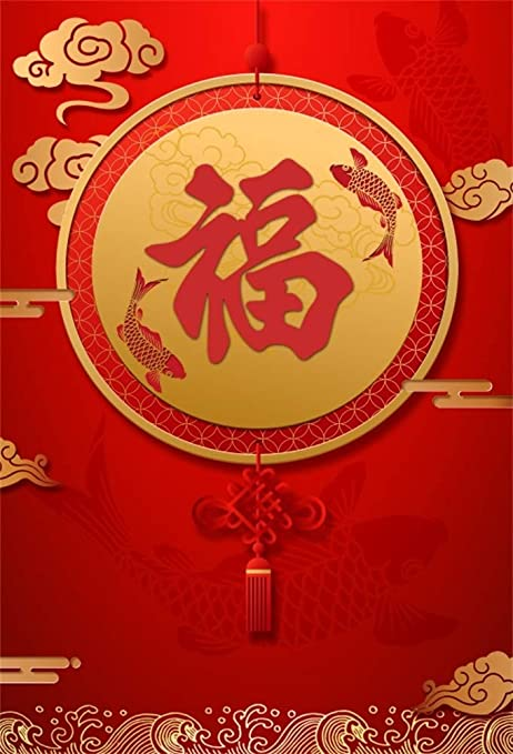 8x6.5ft Red Happy Chinese New Year Backdrops for Photography Happy Chinese Spring Festival Backdrop Chinese Year of The Pig Backdrop Spring Blessing Paper Cut Photo Background Props