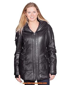 De la Mujer Parka medias mantequilla suave chaqueta de piel ...