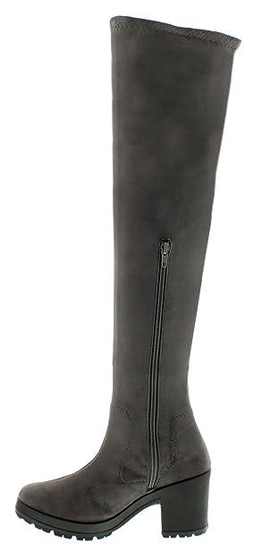 NEU Damen / Damen Überknie Stretch Socke Stil Stiefel mit grob gestrickt C - schwarz - UK Größen 3-8 - Schwarz, 39.5