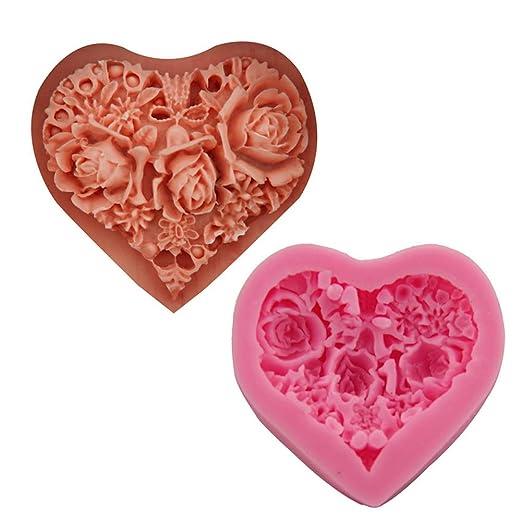 Scrox. 1xMolde de Pastel de Rosa corazón Bricolaje para Hornear ...
