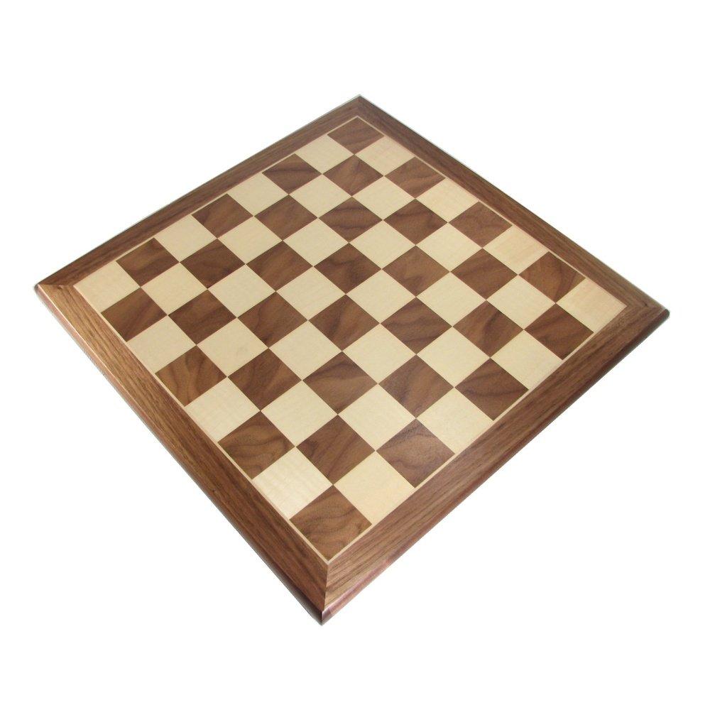 "18"" Footed Walnut-Oak Chess Board B00H934PCK"