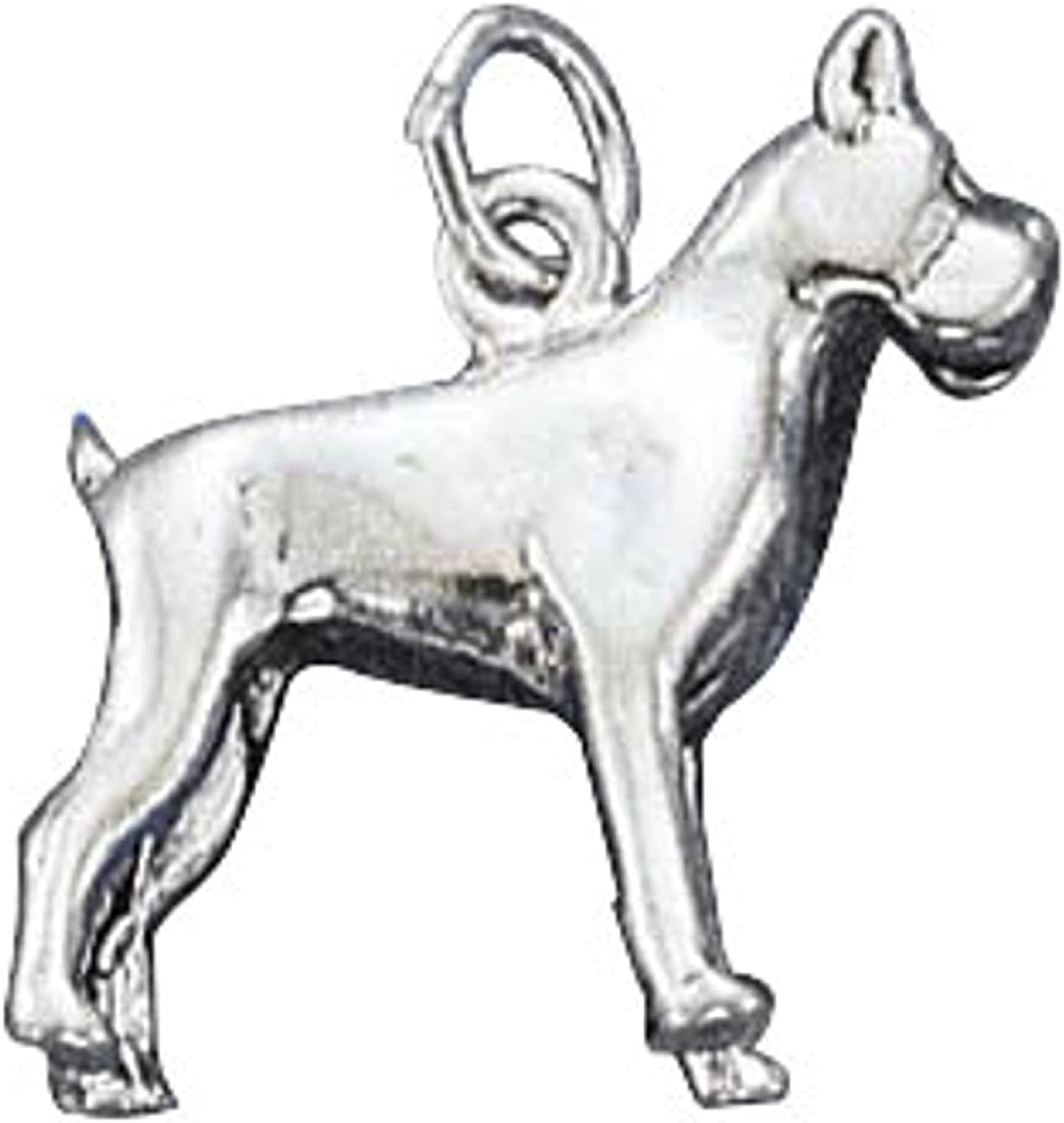 Sterling Silver Mens Unisex 1.5mm Box Chain 3D BOXER Dog Breed Pendant Necklace