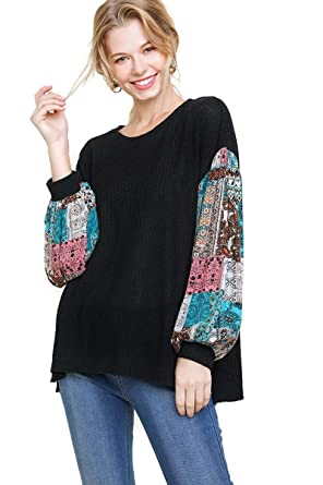 80c420082df umgee USA Women s Paisley Print Sleeve Waffle Knit Top at Amazon Women s  Clothing store